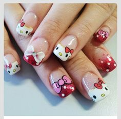 Who said Hello Kitty was just for little girls? Check out these colorful and super cute Hello Kitty nail art designs you're gonna love! Bow Nail Designs, Nail Design Rosa, Nail Art Designs 2016, Nails Design, Bow Nail Art, Cute Nail Art, Beautiful Nail Art, Nail Nail, Red Nail