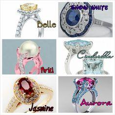 Princess Engagement Rings I love the Cinderella and Jasmine rings. -Juli