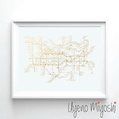 London Underground Map Gold Foil Print Gold Print by UyenoMiyoshi - with black background