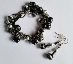Crocheted Bead Bracelet made with Black and Silver Bead Mix glass beads