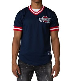 MITCHELL AND NESS MENS LIFESTYLE TEAM MESH TOP CLEVELAND CAVS Navy Cavaliers  Logo c752f17a0