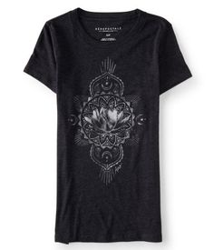 """Chill out in our Blossom Flower Graphic T, which is decked out with a large bloom surrounded by phases of the moon. Pair it up with sandals and destroyed boyfriend jeans for a totally relaxed vibe you'll love.<br><br>Slim fit. Approx. length (S): xx""""<br>Style: 3641. Imported.<br><br>60% cotton, 40% polyester.<br>Machine wash/dry."""