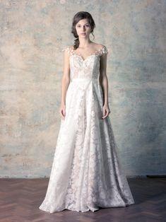 rochie de mireasă nude a line corset cu broderie florală și perle Couture Dresses, Formal, Wedding Dresses, Collection, Fashion, Cat Walk, Bohemia, Bead, Embroidery