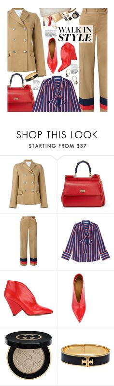 """""""Street Style"""" by beebeely-look ❤ liked on Polyvore featuring Sonia Rykiel, Dolce&Gabbana, Tome, Alice + Olivia, Isabel Marant, Gucci, Tory Burch, 5 Octobre, StreetStyle and stripes"""