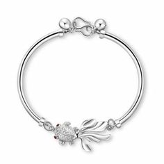 925 Fish Pendant Bracelet for Lady with Silver Ball Included:  USD $13.33