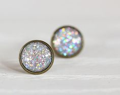 Chunky Holographic Glitter  Glass Earrings by aRainyAfternoon, $10.00