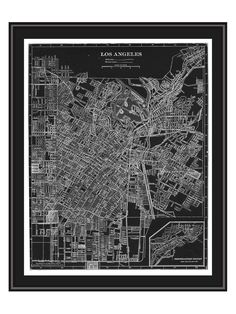 PTM Images Los Angeles Map Canvas with Floater Frame