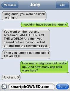 U were so drunk last night! – – Autocorrect Fails and Funny Text Messages – SmartphOWNED Omg dude! U were so drunk last night! – – Autocorrect Fails and Funny Text Messages – SmartphOWNED Funny Drunk Texts, Funny Texts Jokes, Funny Texts Crush, Text Jokes, Funny Text Fails, Drunk Humor, Cute Texts, Epic Texts, Funny Quotes