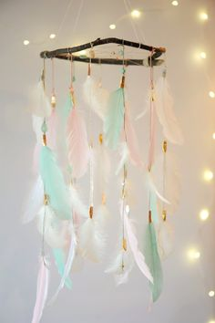 Dreamcatcher Mobile Pink and Mint by DreamkeepersLLC on Etsy