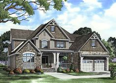 English-Country Style House Plans - 2755 Square Foot Home, 2 Story, 4 Bedroom and 3 3 Bath, 2 Garage Stalls by Monster House Plans - Plan 12...
