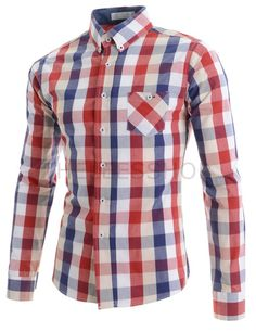 (AL546-RED) Mens Silm Fit Stretchy Collar Cheker pattern 1 Chest Pocket 7 Button Long sleeve shirts