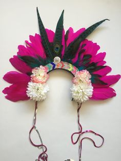 Rio Feather Carnival Festival Floral Head Dress by ZEDHEAD on Etsy