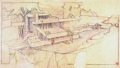 "It's easy to claim plenty of inspiration from FLW's Kaufmann Residence or ""Falling Water."" What stays with me is the story that he was able to draft the initial plans in the space of three hours with the frustrated client en route to his studio. Eccentric, procrastination perpetuated the fact that he just, got around to creating something like this. You can't turn off creativity, if you're lucky it just comes flowing out of you. -- T.C. Pellett"