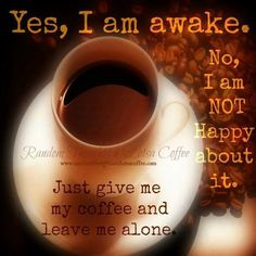 Yes, I am awake. No, I am NOT happy about it. Just give me my coffee and leave me alone. Coffee Talk, Coffee Is Life, I Love Coffee, Coffee Break, My Coffee, Morning Coffee, Coffee Shop, Coffee Cups, Brown Coffee