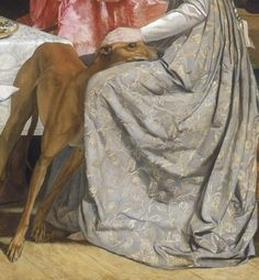 Painting is Poetry - John Everett Millais, Isabella detail, 1849 Pre Raphaelite Brotherhood, Living With Cats, Daddy, John William Waterhouse, Funny Cats And Dogs, Italian Greyhound, Historical Costume, Renaissance Art, Whippet