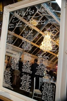 Wedding table plan. Antique mirror