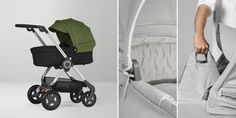Stokke® Scoot™ Carry Cot Black with Green Canopy. The stroller that can be used from birth