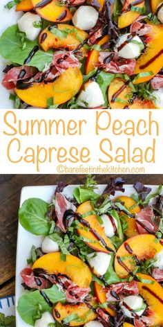 Caprese Salad Make the most of the summer's peaches with this twist on a caprese salad! get the recipe at Make the most of the summer's peaches with this twist on a caprese salad! Caprese Salat, Ensalada Caprese, Caprese Salad Recipe, Caprese Salad Dressing, Vegan Kitchen, Kitchen Recipes, Cooking Recipes, Meal Recipes, Gourmet Salad