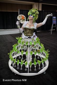 Tiered metal skirt offering appetizers