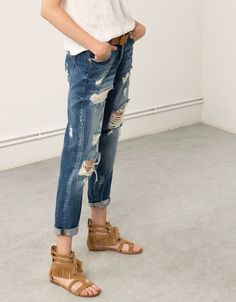 Ripped Boyfriend Jeans from Bershka Ripped Boyfriend Jeans, Fashion Brand, Sandals, France, Pants, Clothes, United Kingdom, Shoes, Woman