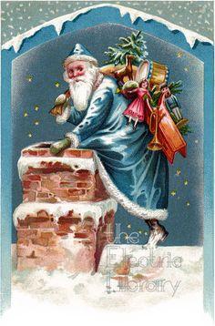 Sky Blue Santa Digital Download: Santa Delivers Presents & Gifts Down the Chimney on a Starry Night Create Invitations, Vintage Santas, Mirror Image, Eminem, Background Patterns, Digital Image, Color Schemes, Presents, Sky