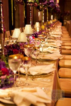 purple and gold decor rectangular wedding tables belle fleur nyc