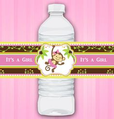 Water Bottle Wraps Labels for Pink Girl Monkey Jungle Baby Shower Printables for Baby Girl DIY  - ONLY digital file - you print AO21