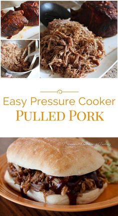 This Easy Pressure Cooker Pulled Pork is so tender it practically falls apart. Served on a bun with a smoky, sweet barbecue sauce, you get the flavor of slow cooked pulled pork in a fraction of the time by cooking in a pressure cooker. Pulled Pork Pressure Cooker Recipe, Slow Cooked Pulled Pork, Power Pressure Cooker, Pulled Pork Recipes, Slow Cooked Meals, Instant Pot Pressure Cooker, Pressure Cooker Recipes, Slow Cooker, Pressure Cooker Pork Tenderloin