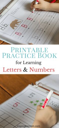 Practice Book for Learning Letters and Numbers - Inspire the Mom Printable Practice Book for Learning Letters and Numbers! Great for preschool and kindergarten!Printable Practice Book for Learning Letters and Numbers! Great for preschool and kindergarten! Preschool Learning Activities, Preschool Curriculum, Writing Activities, Fun Learning, Homeschooling, Preschool Binder, Learning French, Baby Activities, Learning To Write