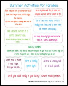 10 Fun Summer Activities for Families {Free Printable} - Pinned by @PediaStaff – Please Visit ht.ly/63sNtfor all our pediatric therapy pins