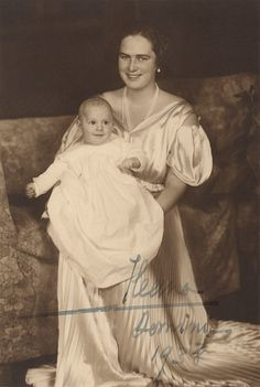 Princess Ileana of Romania Gallery / Princess Ileana of Romania and Prince Dominic 1938 Signed Postcard Princess Alexandra, Princess Beatrice, Prince And Princess, Queen Victoria Family, Princess Victoria, Romanian Royal Family, Royal Beauty, Young Prince, Historical Women