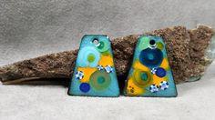 Royal Blue & Marigold Fiesta Enamel Earring by BlueHareartwear