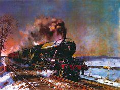 The Flying Scotsman terence tenison cuneo Flying Scotsman, Rail Transport, Steam Railway, Art Prints Online, Train Art, Railway Posters, Train Engines, Steam Engine, Steam Locomotive