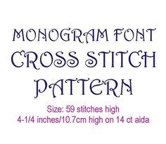 Cross stitch alphabet pattern 59 sts tall font by evascreation