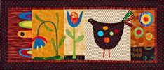 Use coordinating fabrics from Blank Quilting, including prints from the Calista collection, to fuse appliqué shapes to a wall quilt that has folk art flair. Tone-on-tones, stripes, and dots add depth to the farmyard scene. Applique Wall Hanging, Hanging Flower Wall, Felt Applique, Applique Quilts, American Patchwork And Quilting, Bright Pillows, Quilt Patterns Free, Free Pattern, Bird Patterns