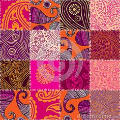 Seamless background pattern. Imitation of quilting design in indian style with paisley ornament