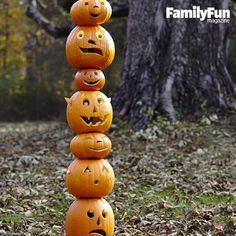 Stack-o'-Lantern: These jacks may look rather precarious, but they're actually held up by a fence post.