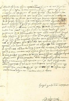 """Letter from Katherine of Aragón to the Pope. In the letter, written in spanish, Katherine pleads to the Pope to save her marriage. She signed it """"Katherina the Queene"""". The letter recently sold for 80,000 pounds."""