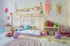 """House Bed With Headboard. When you are concerned about the potential falls of your toddler from his new """"grown-up """" bed, the House Bed With Headboard can be a great choice. Follow us @mysleepymonkey for more kid's room and nursery inspiration!"""