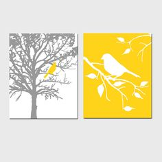 Set of Two 8 x 10 Prints - Birds and Trees - Perfect for Bathroom, Nursery, Kitchen, Bedroom - Gray and Orange, Yellow, Red, Aqua, and More. $39.50, via Etsy.