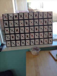 I made this for my clients in rehab! Taped cards to poster, attach a small piece of velcro. On another a deck of cards, add the other piece of Velcro to make matches. Such a great activity for the geriatric population who love to play cards! Can grade down/up, dynamic standing bal, ROM, Crossing midline, fine motor, visual scanning..the list is endless!