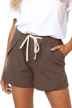 Women Casual Khaki Faylin Linen Shorts – ModeShe.com