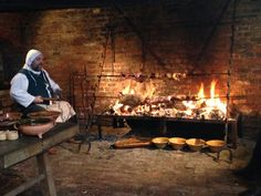 The roasting range in the kitchen of Gainsborough Hall, probably being used for the first time in four hundred years as it was intended, for...