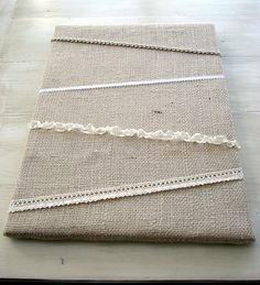 canvas with burlap and ribbons DIY Burlap Canvas