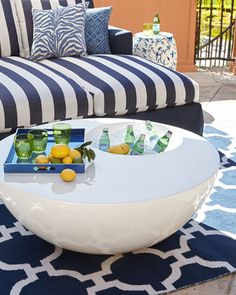 White Outdoor Beverage PatioTable at Neiman Marcus.