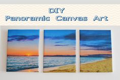 Create an inexpensive and beautiful Panoramic Canvas Art in a few easy steps! ~3 (5x8) canvases ~edited a photo in 'Paint' (scaling 3:1 page) ~was printed on regular paper ~ used clear contact paper ~ See Blog for details :)
