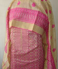 Chanderi suit with all over embroidery & heavy dupatta. For orders and inquiries, please mail us at naari@aninditacreations.com.  Like us at www.facebook.com/naari.aninditacreations