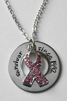 Cancer Survivor - Breast Cancer Survivor - Pink swarovski crystal cancer ribbon - Survivor since on Etsy, $25.00