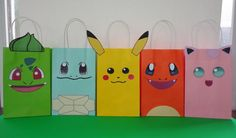 Pokemon Favor Bags/ Pokemon Party Bags/ Pokemon Birthday Party Favors/ Goodie/ Goody/ Loot/ Treat/ C Pokemon Party Bags, Pokemon Candy, Pokemon Pokemon, Pokemon Decor, Pokemon Party Decorations, 6th Birthday Parties, Birthday Party Favors, Birthday Candy, Birthday Recipes