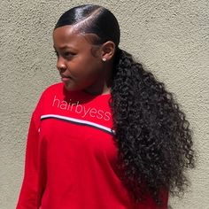 Rabake Straight Body Deep Loose Wave Brazilian Hair Weave Bundles Human Hair Non Remy Hair Weav Curly Ponytail Weave, Hair Ponytail Styles, Slicked Back Ponytail, Side Ponytail Hairstyles, Slick Ponytail, Baddie Hairstyles, My Hairstyle, Black Girls Hairstyles, Weave Hairstyles